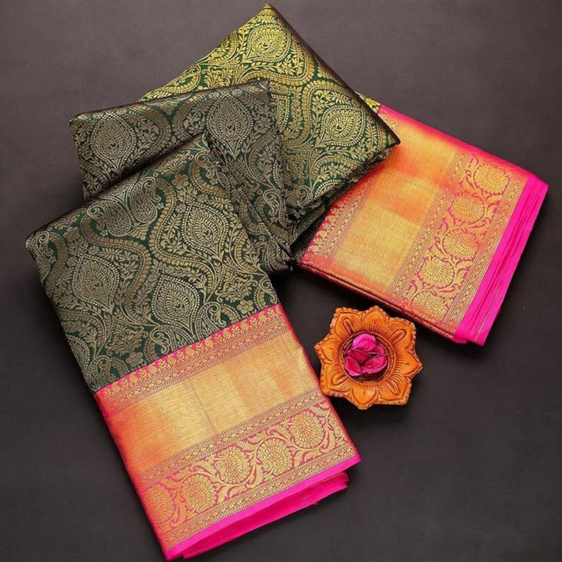 Mahendi Green Colore Designer Bold And Beautiful Saree Indian Traditional Saree Bollywood Style Exclusive Party Wear Kanchipuram Silk Saree