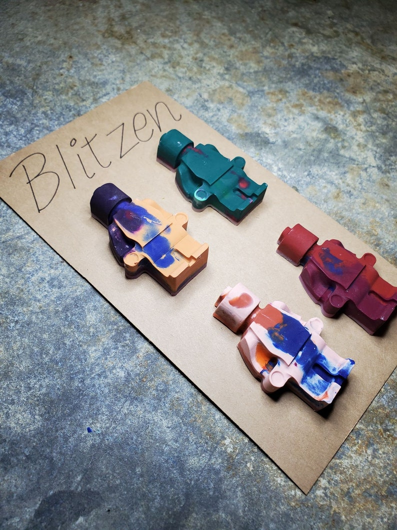 Set of Four Block Men Figure Crayons
