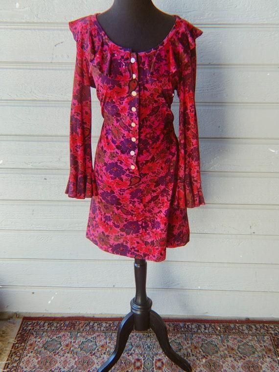 1960s Flower Mini Dress Ruffled Sleeves