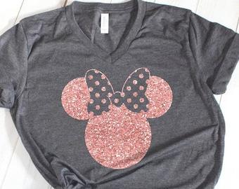Disney Shirts, Minnie Ear Shirt, Glitter Rose Gold Minnie Shirt, Cute Ear Shirt, Disney Shirt for Women, Disney Ear Shirt,