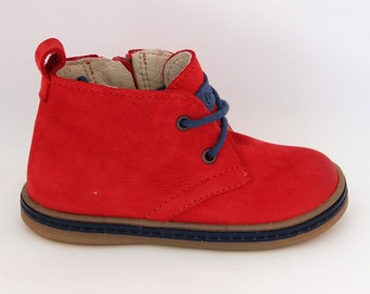 Handmade genuine leather first walkers, first shoes, kids toddler shoes, elegant shoes, red boots, zip