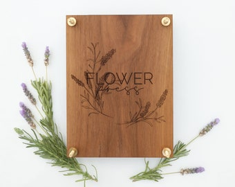 Flower Press with Lavender Wreath Design-Personalized Botanical flower herb press kit with modern floral design and brass hardware