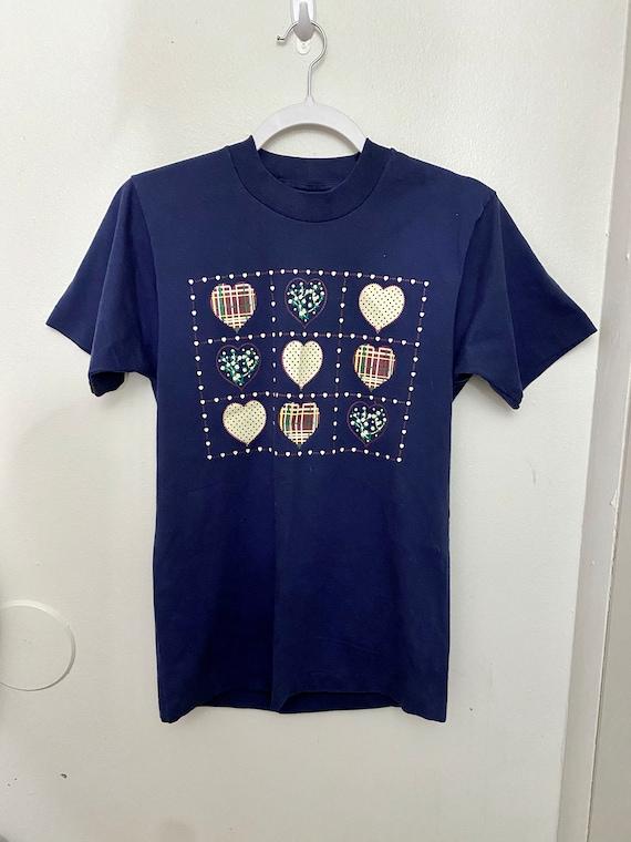 Vintage single stitch patchwork print heart t-shir