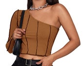 Tan Brown One Shoulder Long Sleeve Ribbed Contrast Stitch Lace Up Crop Top