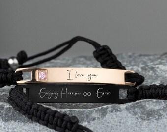 Personalized Stainless Steel Engraved Bracelet, Custom fatehr's Day gift Men's bracelet Custom Engraved Link Bracelet boyfriend gift