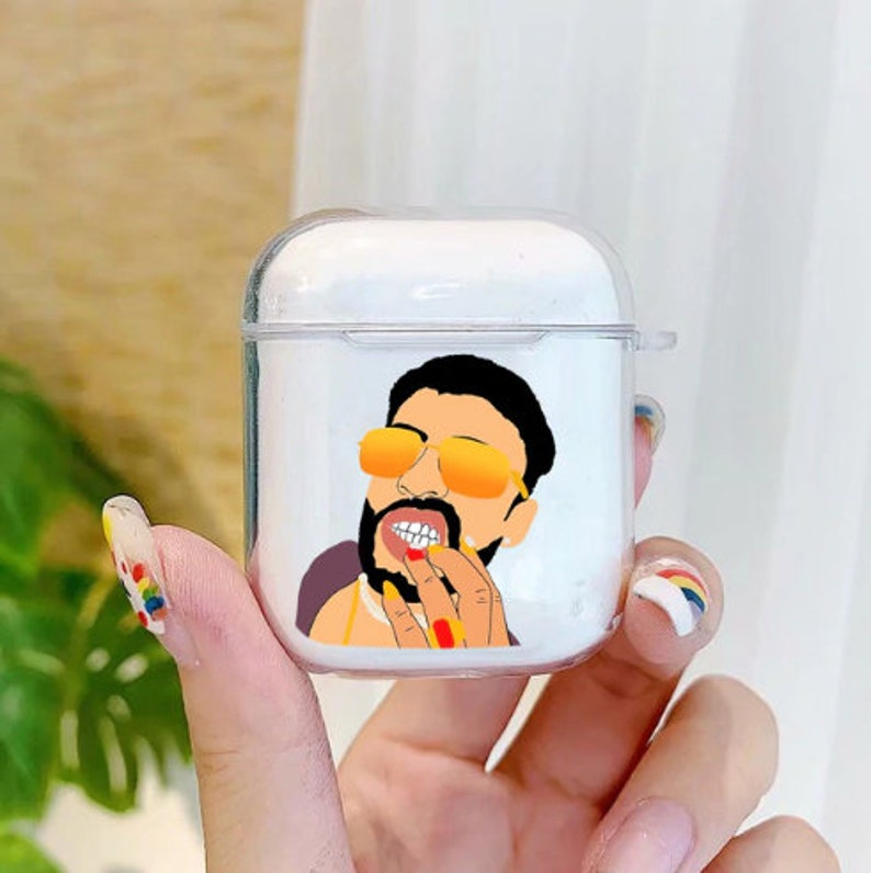 Cute Transparent Airpods Case Wireless Earphone Protective Case For Airpods 1 2 Pro. Bad Bunny Airpods Case