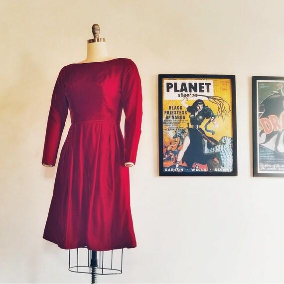 Vintage Velvet Silk Dress, Vintage Holiday Dress,
