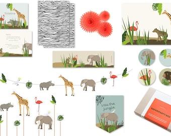 Safari Party Box | Birthday Jungle Party | Africa | Animals | Elephant | Zebra | Birthday Decoration Boys | Children's Birthday Games | Tinkering