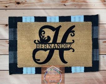 Family Name Monogram Doormat/Personalize Doormat/Custom Doormat/Housewarming Gift/Closing Gift