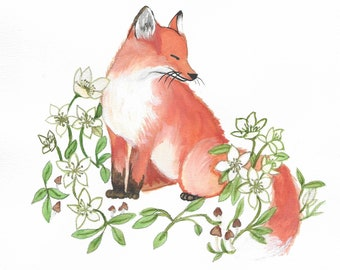 Fox on bed of flowers