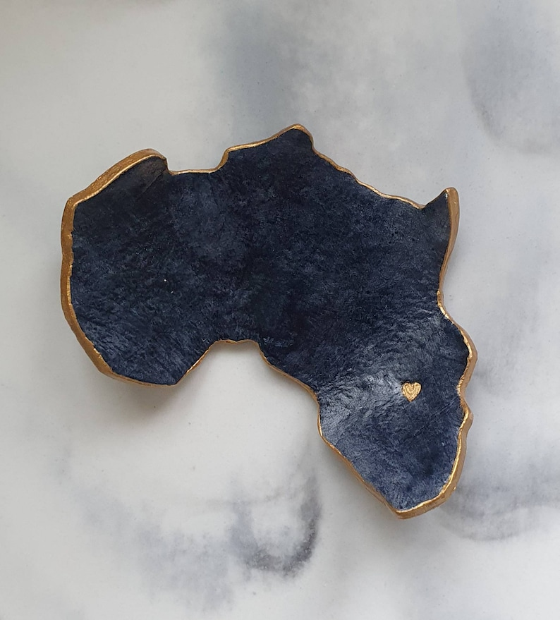 Grey and gold Africa shaped ring dish home decor interior design engagement gift anniversary gift jewellery dish