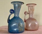 PAOLO ROSSI VENEZIA Vase Set of 2 Vintage Glass Vase, Vintage Roman Amphora, Made in Italy, Minimalist Home Decor, Table Decor Pink Vase Jug