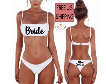 Bride Mrs. Honeymoon Bikini Two Piece Swim Suit, White Low Rise Bridal Bathing Suit, Bride To Be Wifey Honeymoon Bachelorette Wedding Suit