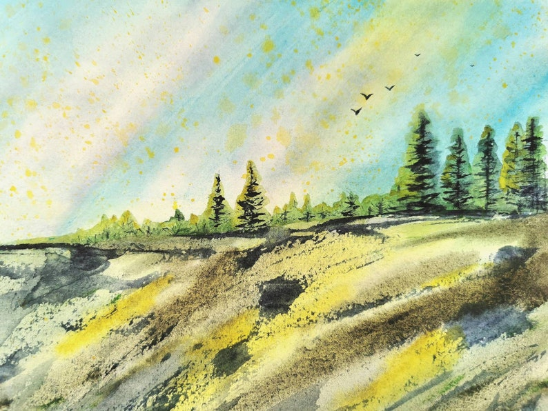 Impressionism Art Original Watercolor Painting 8.3 x 11.4 Semi Abstract Spring Trees Landscape Vermont Painting