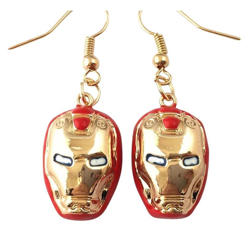 Iron Man Clip On Earrings Available Hypoallergenic Dangle Earrings
