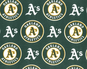 """MLB Oakland Athletics A's  Fabric By The Yard - 100% Cotton"""" -  Great For Face Masks !! -  """"Same Day Shipping!!!!"""""""