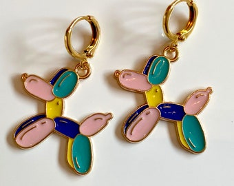 Gold plated round lever back opalite beaded earrings