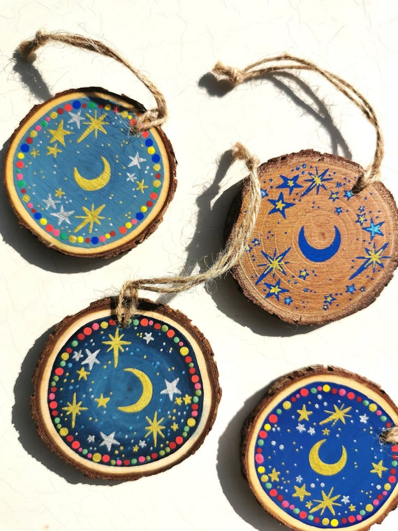Celestial Moon Mini Wooden Hanging Decorations | Miniature Wood Slice Art | Witchy Home Décor