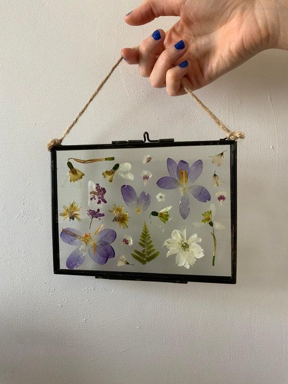 Purple Floral Glass Frame | Botanical Pressed Flower Art | Lilac Hanging Decoration | Home Décor