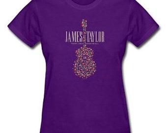 James Taylor Ladies Tee: 2018 Tour Flower Guitar (Ex. Tour)