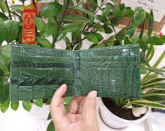 Premium Double side Green Genuine Alligator Leather Skin  Men Bifold WALLET,  Luxury handmade Wallet, unique slim wallet, Gift for him/dad