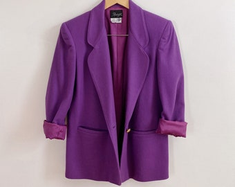 Vintage 80s 1980s Oversized Basic Purple Plum Blazer Size Small Medium Large XL