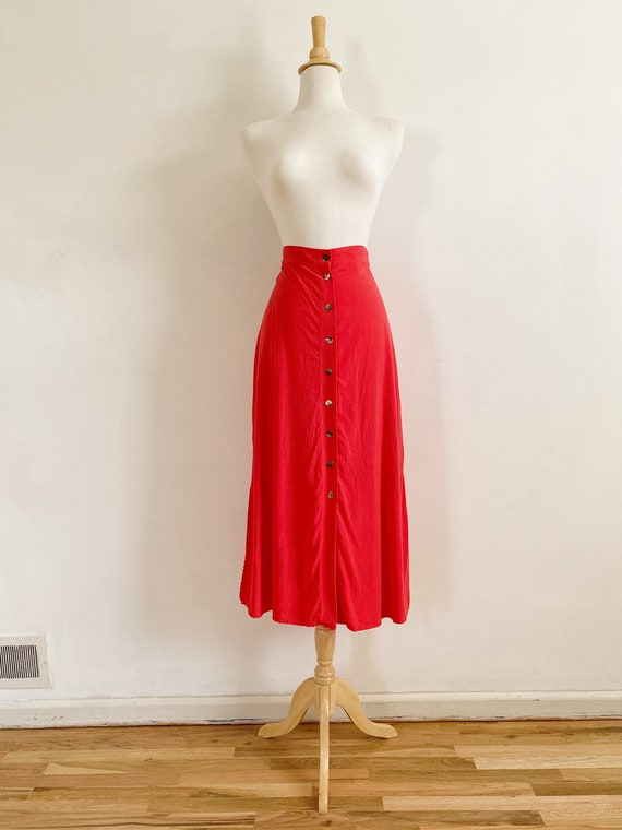 Vintage 90's Coral Red Button Front Midi Skirt