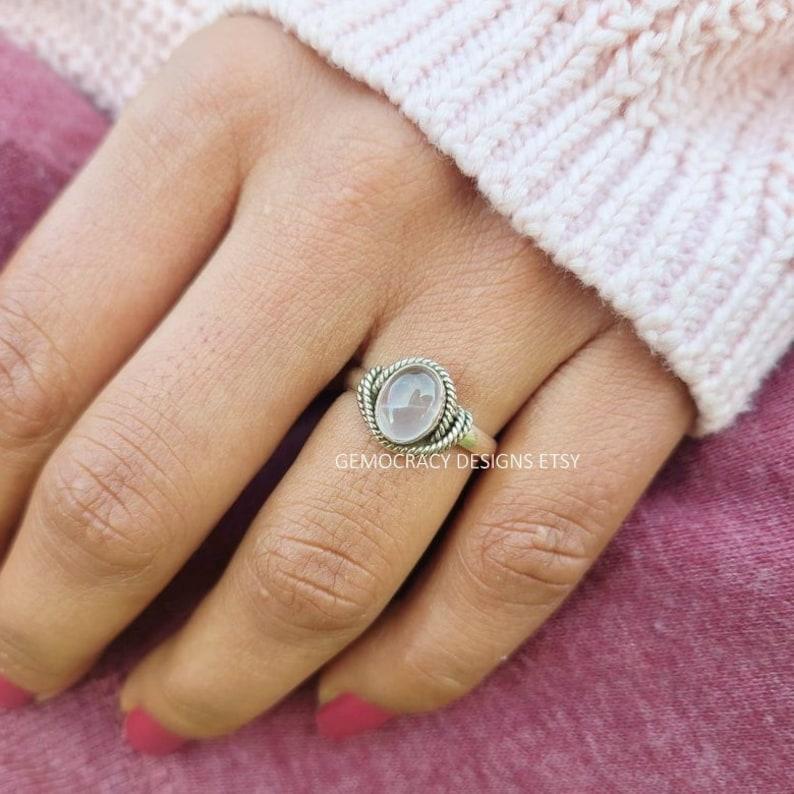 Handmade Ring Gift Ring Rose Quartz Ring 925 Sterling Silver Ring October Birthstone Ring Roped Border Ring Natural Quartz Oval Ring