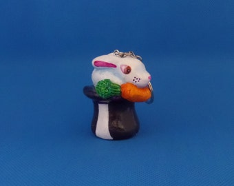 Handmade Polymer Clay Keychain Rabbit Out of a Hat Keychain Fun Art Gift Sculpture