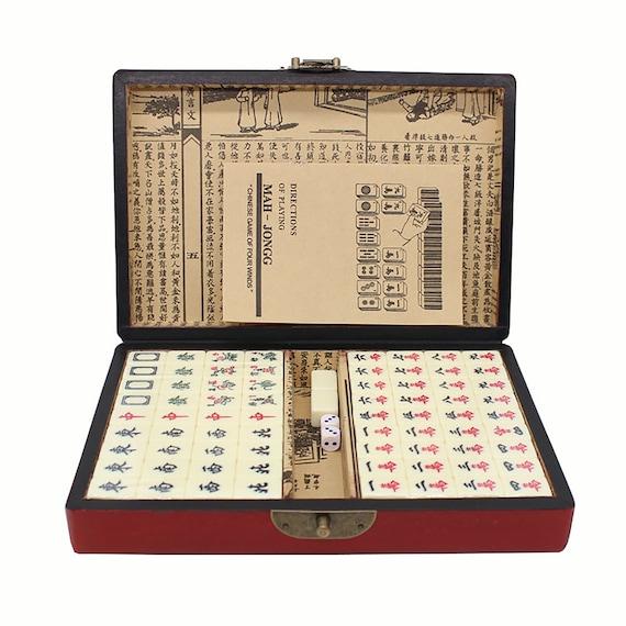 Mahjong Set Retro Mahjong,Portable Retro Mahjong Party Toys Mini Mahjong Wooden Box Bamboo Mahjong Wedding Gifts