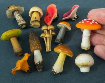 Miniature Mushrooms. Fairy garden Mushrooms. Handmade of polymer clay.