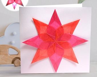 Handmade Window Star Greeting Card and Window Decoration, New Baby, Christening, Birthday.