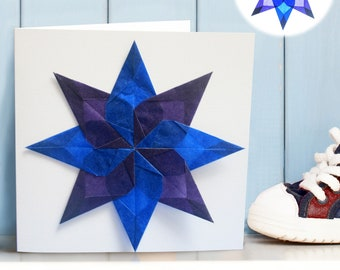 Handmade Window Star Greeting Card and Window Decoration, New Baby, Christening, Birthday, Just Because.