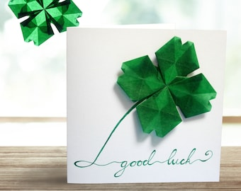 Handmade Clover Greeting Card and Window Decoration, Good Luck