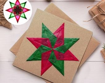 Handmade Window Star Greeting Card and Window Decoration, Christmas, Birthday, Good Luck, Well Done, Wedding Invitation, Just Because.