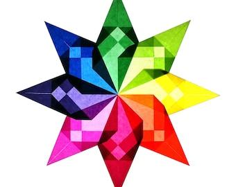 "Window Star AND Kit ""pinwheel"" / Rainbow, Steiner, Waldorf, Home School, Window Decoration, Suncatcher"