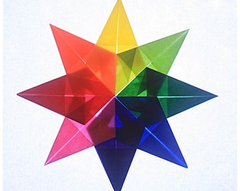 Window Star AND Kit / Rainbow, Steiner, Waldorf, Home School, Suncatcher, Origami
