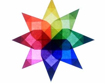 Window Star AND Kit / Rainbow, Steiner, Waldorf, Home School, Suncatcher, Origami,