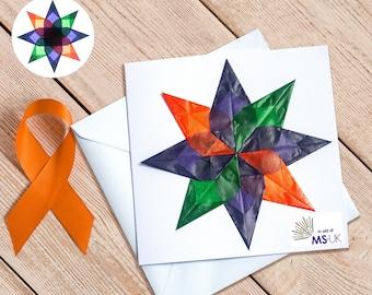In aid of MS-UK - Handmade Window Star Greeting Card