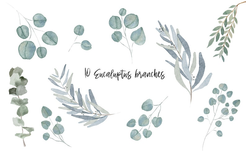 PNG Watercolor Greenery Clipart DIGITAL PRODUCT - perfect for wedding invitations