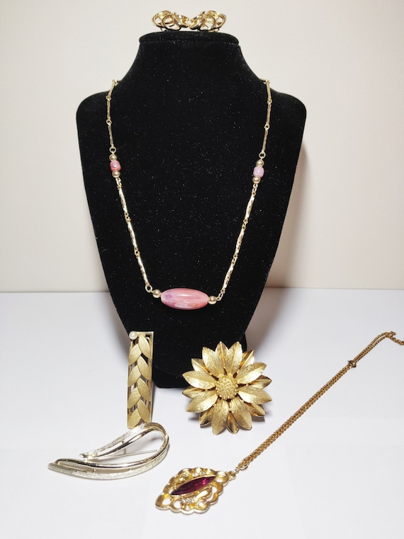 Austrian Tulip Flower Pendant /& Earrings Set Signed Made in Austria Silver Tone Chain Necklace and Clip Ons Mid Century 1950s Floral Jewelry