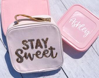 Stay Sweet Lunchbox | Personalized Lunchbox | Personalized Sandwich Container | Pink Lunch Container | Gold Glitter School Lunch Box