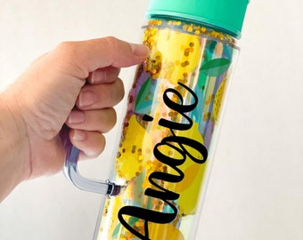 Personalized Lemon Water Cup | Skinny Lemon Tumbler | Lemon Themed Bridesmaid Favor | Summer Fruit Drink Cup | Double Wall Glitter Tumbler