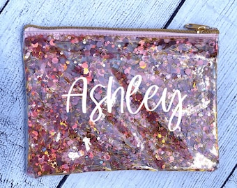 Personalized Makeup Bag | Pink and Gold Glitter Cosmetic Bag | Rose Gold Makeup Bag | Pink Glitter Pencil Pouch | Glitter School Supply Bag