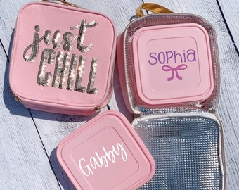 Just Chill Lunchbox | Personalized Lunchbox | Personalized Sandwich Container | Pink Lunch Container | Gold Glitter School Lunch Box