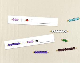 Montessori Bead Bar Addition Worksheet. Montessori Primary Math Work. Preschool Addition Practice. Pre-K, Kindergarten Math Worksheet.