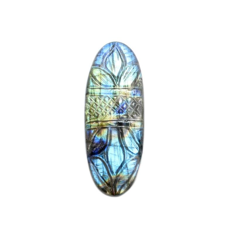 50/%OFF Natural Multi Flashy Labradorite Carving Gemstone Oval Shape Mughal Art Carving Labradorite Cabochon 48x18 mm Jewelry Gemstone LC-49