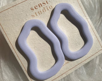 muted periwinkle squiggle hoop | polymer clay