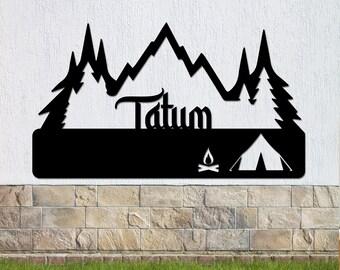 Tent Camping Scene Metal Sign, Mountain Sign, Fire metal sign, Camping sign, Outdoor enthusiasts, Metal sign, Metal wall art, Monogram metal