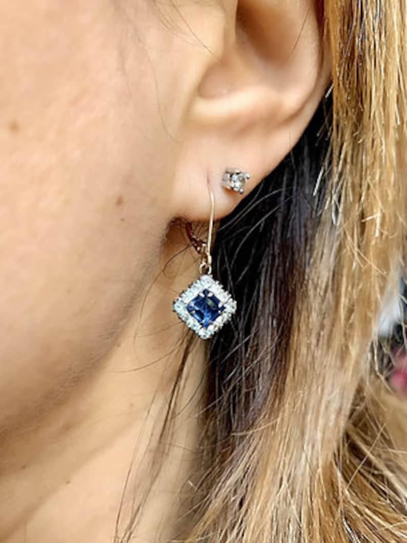 Square Drop Earrings For Women Halo Earrings 1 Ct Art Deco Silver /& Sparkling Blue Earrings 14KT White Gold Finish Anniversary Gift